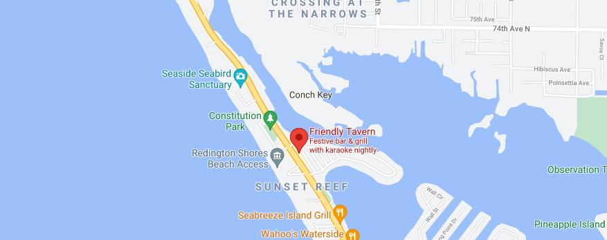 Friendly Tavern Redington Shores FL Map